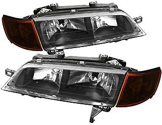 Carpartsinnovate Fit 94-97 Honda Accord Replacement Black Headlights Amber Corner Parking Lamps