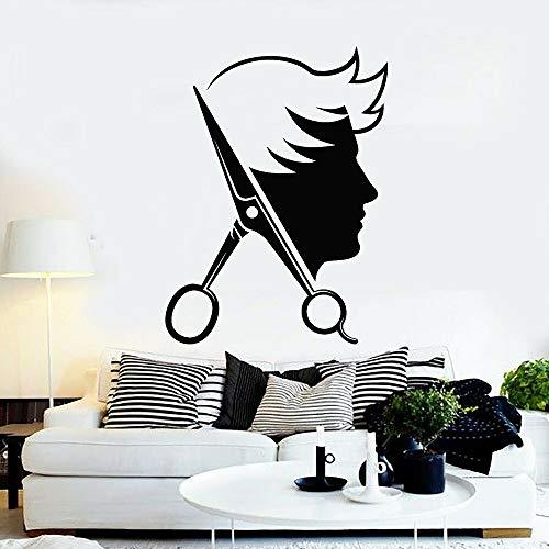AiEnmaw Barber Shop Logo vinilo adhesivo de pared tijeras hombre herramientas de corte de pelo peluquería decoración diseño 56 x 42 cm
