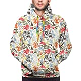 Men's Hoodies Sweatshirts,Artistic Abstract Trippy Pattern with Fish and Eye Figures Colorful Illustration,XXX-Large