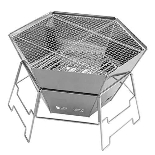 JU FU BBQ Barbecue Grill - Etagère en Acier Inoxydable Barbecue au Charbon de Bois Portable Table de Cuisson pour Barbecue à Pied Court Four Hexagonal Pliant @@