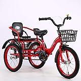 Triciclo de Adultos Triciclo Adulto Adult Tricycle Bicicletas de tres ruedas for niños Niñas, Triciclo 16 18 pulgadas 3 Bicicletas de ruedas Crucero Bicicletas Cómodas de dos plazas con cesta for niño