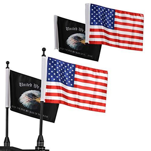 MASION Motorrad-Flagge verstellbar 15,2 x 22,9 cm USA-Adlerflagge mit Fahnenmast für Harley Honda Goldwing CB VTX CBR Yamaha Fit 1/2 Zoll Gepäckträger Halter 2 (USA-Flagge + Adlerflagge)