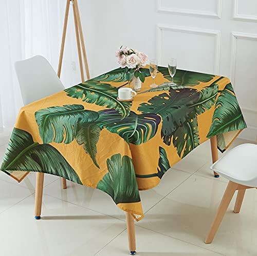 XXDD Plantas Verdes Tropicales Flor Mantel Impermeable Hoja de Palma impresión 3D Mantel de Mesa de café paño de Picnic A2 140x140cm