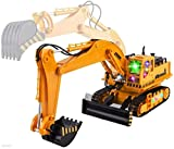 WolVol (11 Channel + Demo Function Big Electric RC Remote Control Excavator Construction Truck Toy for Kids with Lights and Sounds (Can Turn Off Sounds)