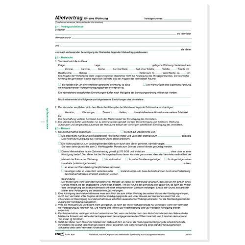 RNK 525 Vertragsformular Mietvertrag für Wohnungen, DIN A4 (5 Stück)