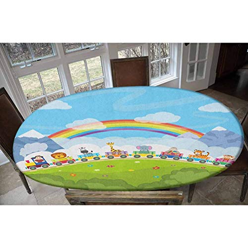 Elastic Polyester Fitted Table Cover,Cartoon Railway Train with Various Animals and a Rainbow Mountains Clouds Trees Decorative Oblong/Oval Elastic Fitted Tablecloth,Fits Tables up to 48' W x 68' L