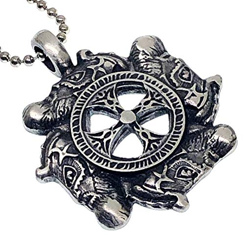 Celtic Norse Viking Jewelry Warrior Sunwheel Solar Wheel Cross Protection Amulet Unisex Boy's Men's Pendant Necklace Charm for men w Silver Ball Chain