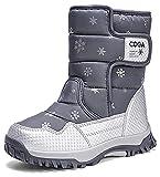 DADAWEN Girls Boys Snow Boots Winter Outdoor Waterproof Slip Resistant Cold Weather Shoes (Toddler/Little Kid/Big Kid) Grey US Size 2 M Little Kid