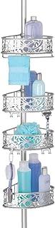 mDesign Półka pod prysznic na akcesoria kąpielowe – stalowy pojemnik łazienkowy z plastikowymi przyssawkami – regulowany o...