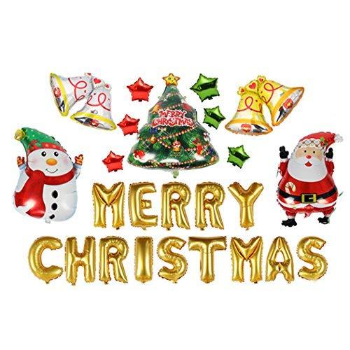 Coxeer Christmas Balloon, 12Pcs Christmas Decor Xmas Tree Pentagram Santa Snowman Bells Christmas Letter Balloon (Christmas)