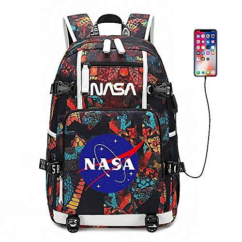 CBA BING Astronaut NASA Backpack, Business Travel Computer Bag Slim Laptop Mochila con Puerto de Carga USB, Alta Capacidad Ligero Elegante Resistente al Agua,Naranja