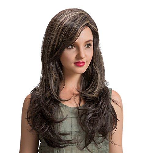 Peluca de Color Mezclado Ondulado Largo Y Rizado de 22 Pulgadas para Mujer, Disfraz con Reflejos Marrones Rubios
