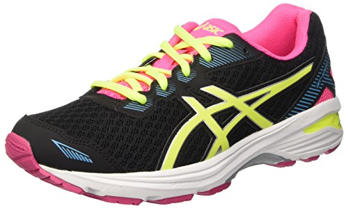 ASICS Unisex-Kinder GT-1000 5 GS Laufschuhe, Schwarz (Black/Safety Yellow/pink Glow), 35 EU