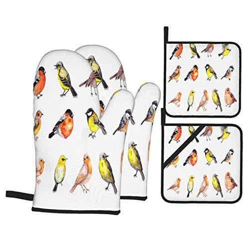 Juegos de Manoplas y Porta ollas para Horno,Pinzón Pinzón Robin Big Set Birds Guantes de Cocina Resistentes al Calor para Hornear en la Cocina, Parrilla, Barbacoa,BBQ
