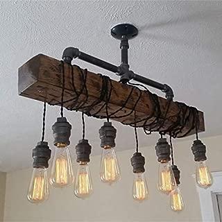 JinYuZe Rustic Wood Beam Hanging Ceiling Lighting Natural Reclaimed Wooden 8-Light Island Pendant Chandelier Lighting Ceiling Fixture for Kitchen Dining Room