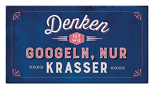 Grafik Werkstatt Wand Vintage-Art | Denken ist wie Googeln…. | Retro | Nostalgic | Pappschild mit Kordel| Deko-Schild Cardboard, Pappe, bunt, 22 x 12 cm