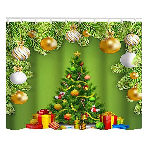 TOPINCN 150x180cm douchegordijn kerstboom thema patroon waterdichte douchegordijn met haken badkamer Decor polyester materiaal