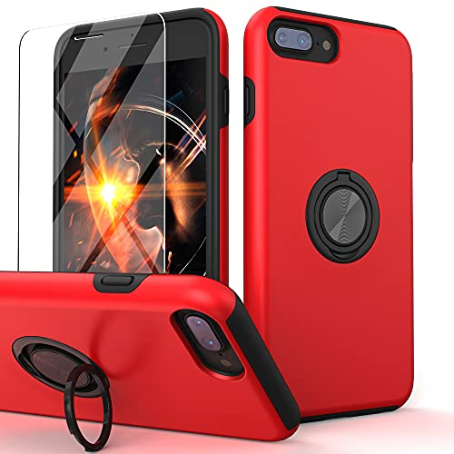 Yamink Compatible for iPhone 8 Plus Case with Tempered Glass Screen Protector,iPhone 7 Plus/6S Plus/6 Plus Case,Hybrid 2 in 1 Protective Slim Fit Phone Case with Invisible Magnetic Ring Kickstand,Red