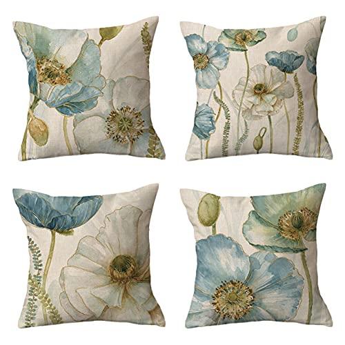 Ysislybin Funda de cojín decorativa de 45 x 45 cm, 4 unidades, de lino, para sofá, dormitorio, salón (sin relleno)
