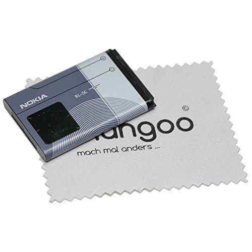 Batería para Original Nokia BL-5C LiIon para Nokia 110, 1100, 1101, 1110, 1110i, 1112, 1200, 1208, 1209, 130 con mungoo pantalla paño de limpieza