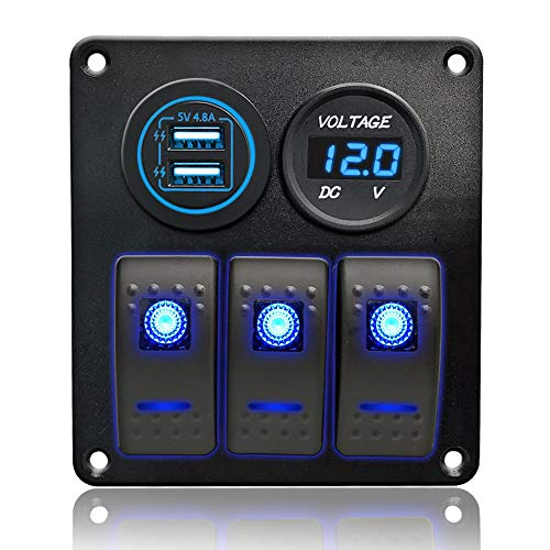 IZTOSS 3 Gang 5 Pin ON/Off Switch Panel with 5V/4.8A Dual USB,Blue Voltmeter and Wiring Kits for Marine Boat Car Rv Vehicles Truck(Blue)