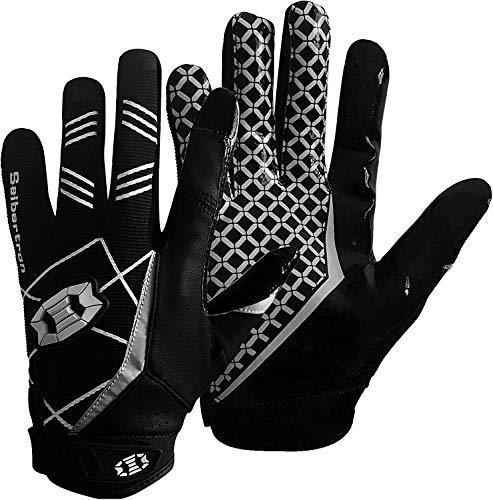 Seibertron PRO 3.0 Elite Ultra-Stick Sports Receiver Gloves/Guanti da Football Americano PRO Ricevitore Gioventù e Adulti Nero L