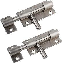Slotvergrendeling, Slide Bolt set van 2 ideaal voor badkamer toilet tuindeuren & schuur deuren (3 inch, zilver)