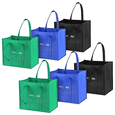 6pcs/set Multipurpose Reusable Non-Woven Large Grocery Tote Bags Foldable Shopping Bags Storage Handbags with Dual Reinforced Handles