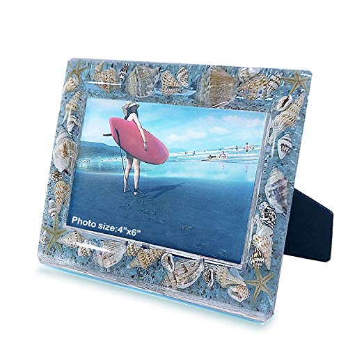 FONMY Picture Frames 4x6 Seascape Acrylic Frame for Wall Decor and Tabletop Display Worth Memorial Gifts Picture Frame Blue Ocean Seasell Photo Frame as Home Decor.