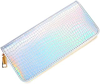 Bestmaple Women's Hologram Zipper Around Pu Leather Wallet Clutch Purse (Silver-1)