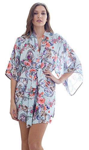Dames Korte Satijn Jurk Bloemen Print Katoen Zijdeachtige Calla Lilly Kimono - Wrap, X Klein tot X Groot