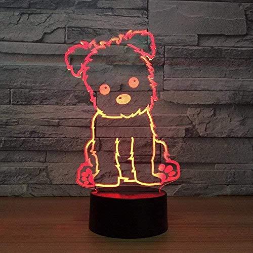 Luz de noche 3D Luz LED 7/16 Color Táctil Control remoto Lámpara de escritorio para dormir para niños Decoración de dormitorio Juguete de cumpleaños de vacaciones Regalo - perro