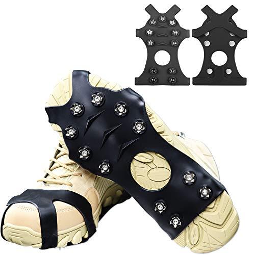 HONYAO Ice Klampen Schuhspikes Schuhkrallen, Anti Rutsch Schnee Spikes Herren Damen Steigeisen Eiskrallen für Schnee und EIS - Schwarz Mittel
