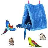 Gertok Jaulas para Pajaros Jaulas para Agapornis Budgie Juguetes Pequeña Mascota Cama Jaula para Mascotas Hamaca Cálido Nido de Pájaro Loro Hamaca Blue,25