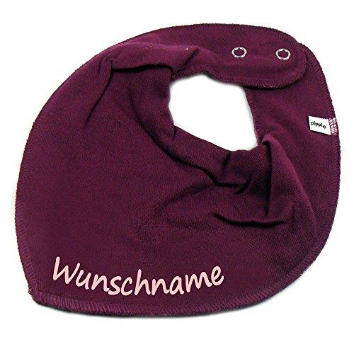 HALSTUCH mit Namen oder Text personalisiert beere für Baby oder Kind