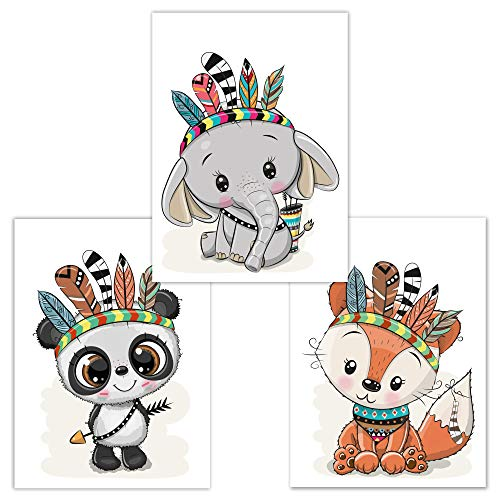 Juego de 3 Cuadros Infantiles, Animales del Bosque, ideales para decorar una habitación infantil o de bebé de un niño o de una niña, DINA4