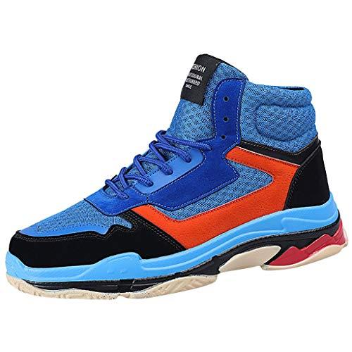 Poamen Unisex Sneaker, gestrickt, atmungsaktiv, modisch, rutschfest, Schwarz - blau - Größe: 40 2/3 EU