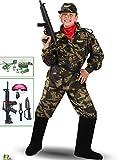 VESTITO COSTUME Maschera di CARNEVALE bambino - Soldato MILITARE - Taglia 10/11 anni - 123 cm