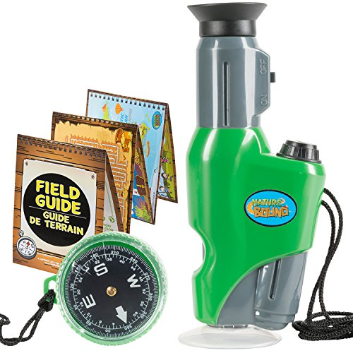 Nature Bound Toys Portable Field Microscope with Compass, for The Exploration of Nature, 6.5 Inches Tall, Built in Light, 40 X Magnification, Activity Field Guide Included