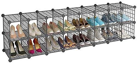 16 Cube Metal Wire Cube Storage DIY Shoe Black Cabinet