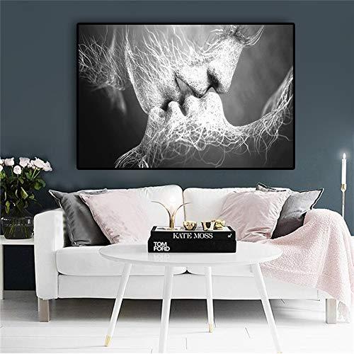 hetingyue Beso de Amor en Blanco y Negro Cuadro en Lienzo Abstracto Póster y Grabado Sala de Estar nórdica Imagen de Arte Pop nórdico 60X90cm