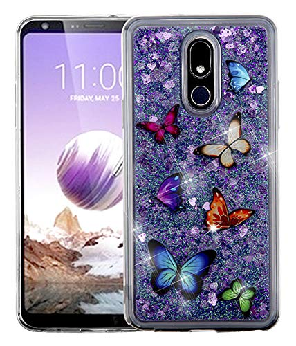 Kaleidio Case Compatible for LG Stylo 5 [Quicksand Glitter] TPU Gel Slim Hybrid Skin Cover [Liquid Dancing Butterfly & Hearts]