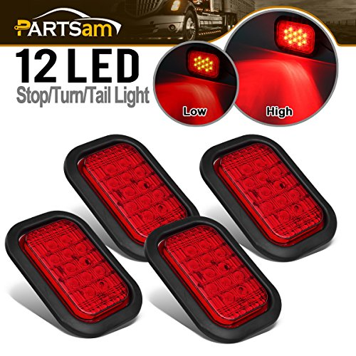 "Partsam 4X 12 LED Rectangle Truck Trailer Stop Tail Brake Lights Red 5""x3"" w/Rubber Mount, Sealed 5""x3"" 4X Red Rectangle 12 LED Stop/Turn/Tail Truck Trailer Hitch Light Grommet Wire Kit"