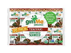HEALTHY SNACKs compatible with Keto, Vegan, Vegetarian, Gluten Free and Low Carb diets, gimMe's Organic Roasted Seaweed is a SUPERFOOD that is enjoyed by Kids and Adults alike EAT ON THE GO by dropping in a single pack of gimMe Organic Roasted Seawee...