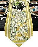Camino de mesa,camino de mesa de centro de arpillera antideslizante para fiestas,cenas,días festivos,cocina,decoración de mesa diaria,frutas frescas,hojas de limón,acuarela,tema de verano,14 x 72in