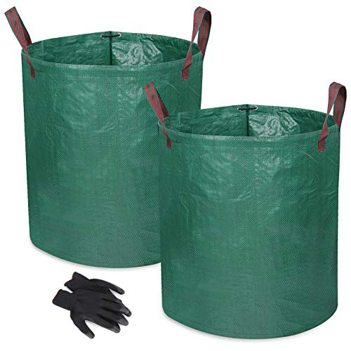 Zovator Sacos de jardín, Bolsas de jardín Premiums, Resistentes al Agua, Grandes Bolsas de Basura con Asas, Plegables y Reutilizables,Incluye Regalo 1 par de Guantes de jardinería(2x272L)
