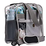 "Heavy-Duty Clear Bag NFL & PGA Stadium Approved - Clear Tote Bag with Exterior 3 Pockets And Adjustable Extra Long Strap - see through CrossBody Messenger Shoulder Bag - 12"" X 12"" X 6"" (Grey)"