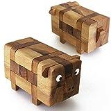 PIG PUZZLE - Rompecabezas de madera maciza de dificultad 2/6. Marca francesa Le Délirant Norma CE. Desmonta y reconstituye las 13 piezas del cerdo a partir de 8 años.