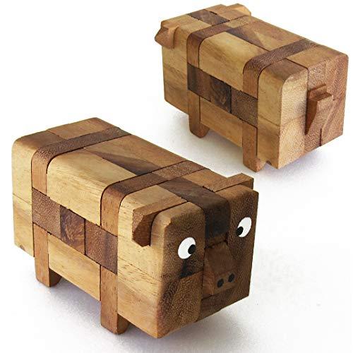 PIG PUZZLE le casse tête de cochon ! Jeu puzzle en bois massif de difficulté 2/6. Marque française le Délirant® Norme CE - Démontez puis reconstituer les 13 pièces du Cochon à partir de 8 ans.
