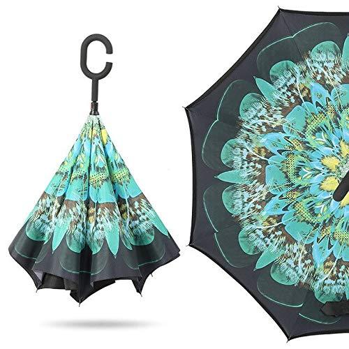NJSDDB paraplu Vrouwen Winddichte Omgekeerde Dubbele Laag Omgekeerde Chuva Paraplu Zelf Stand Inside Out Regenbescherming C-Haak Handen Voor Auto, 3